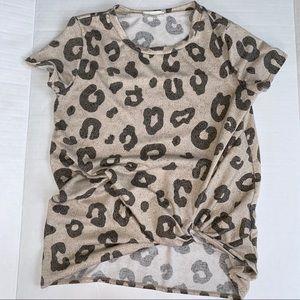 Animal Print Short Sleeve Blouse